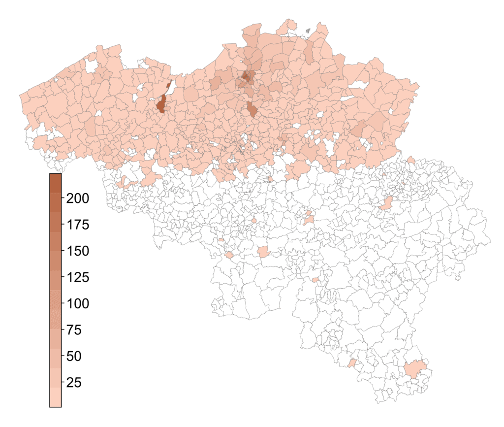 A map of Belgium with the heatmap of the distribution of the participants.